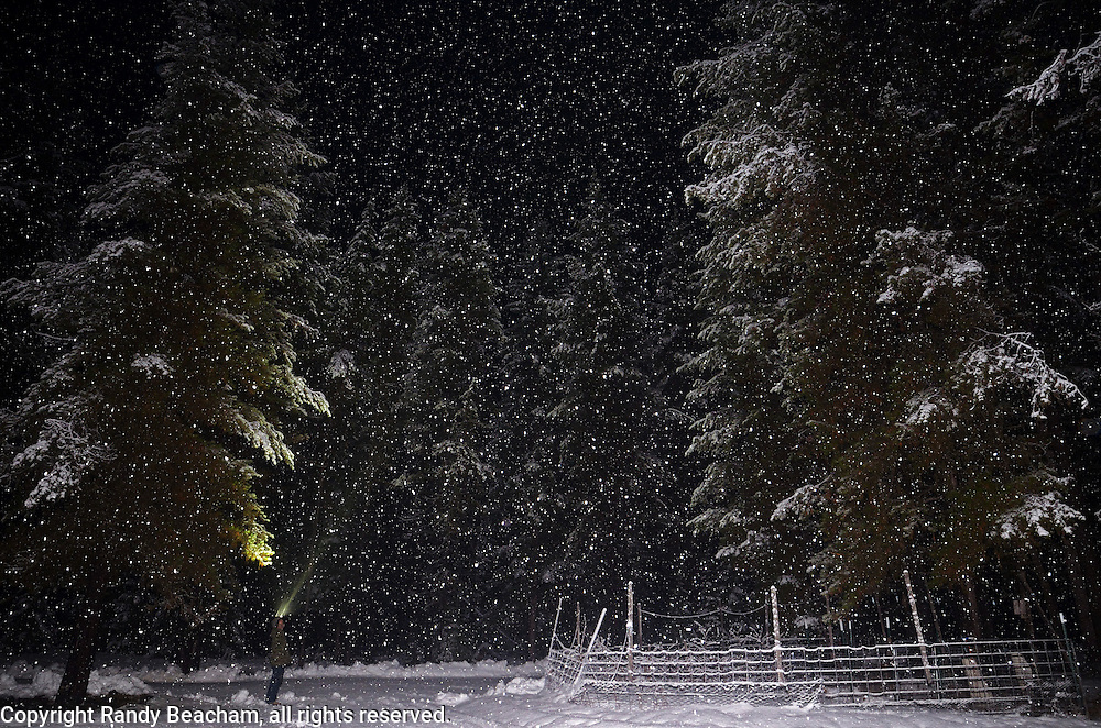 Self portrait at home during a snowstorm at night. Yaak Valley, Montana.