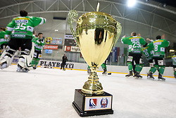 Trophy and in background players of EHC Bregenzerwald celebrate victory and becoming champions of Inter National League during 5th game of final INL league ice hockey match between HK Playboy Slavija and EHC Bregenwald at Dvorana Zalog, on April 3, 2013, in Ljubljana, Slovenia. (Photo by Matic Klansek Velej / Sportida)