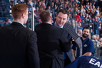 KELOWNA, CANADA - APRIL 30: Seattle Thunderbirds' coaching staff congratulate one another on the game 6 win and the Western Conference title against the Kelowna Rockets on April 30, 2017 at Prospera Place in Kelowna, British Columbia, Canada.  (Photo by Marissa Baecker/Shoot the Breeze)  *** Local Caption ***