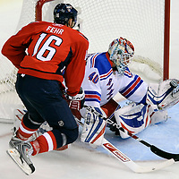 24 April 2009:   New York Rangers goalie Steve Valiquette (40) makes a glove save on shot by Washington Capitals right wing Eric Fehr (16) in the 3rd period in the fifth game of the Eastern Conference NHL quarterfinal playoff game at the Verizon Center in Washington, D.C.  The Washington Capitals defeated the New York Rangers 4-0 in the Eastern Conference NHL quaterfinal playoff.