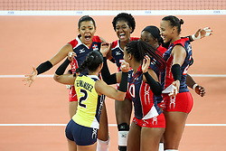 Players of Dominican Republic celebrate the volleyball match between National team of Slovenia and Dominican Republic in Preliminary Round of Womens U23 World Championship 2017, on September 4, 2017 in SRC Stozice, Ljubljana, Slovenia. Photo by Morgan Kristan / Sportida