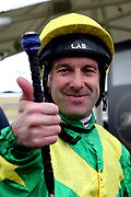 Jockey ROBERT WINSTON gives the thumbs up after winning The Pavers Foundation Catherine Memorial Sprint over 6f (£100,000) on RECON MISSION during the MacMillan Charity Raceday held at York Racecourse, York, United Kingdom on 15 June 2019.