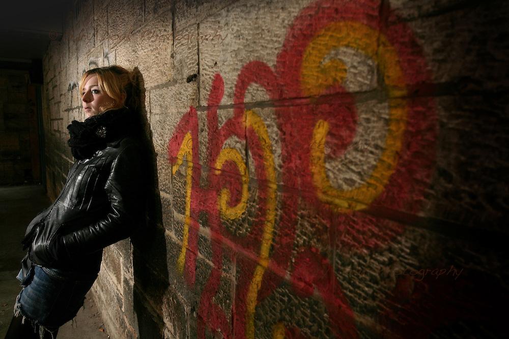 Flash demo, Napier University..Lauren and graffiti