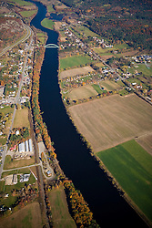 The Connecticut River as it flows between Thetford, Vermont and Orford, New Hampshrie.  Aerial.