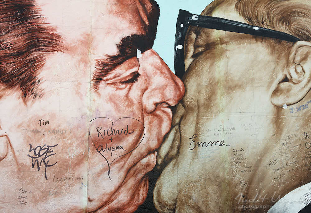 The kiss between Erich Honecker, the East Germany President, (right) and Leonid Brezhnev, the Soviet leader (left) is one of the greatest kisses of the history. <br />