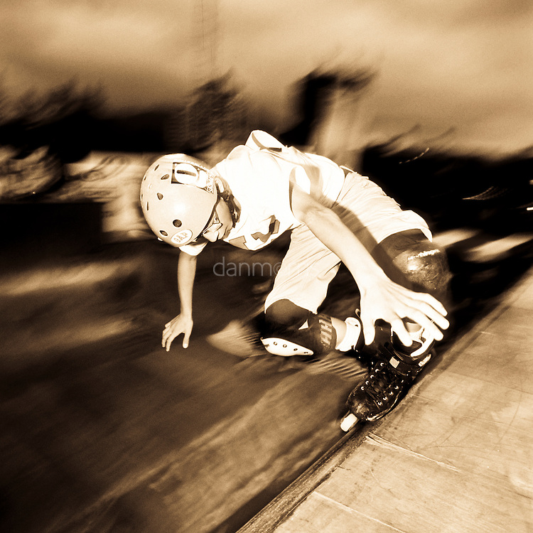Takeshi Yasutoko, pro in line skater, in competition at the X Games, Phuket, Thailand