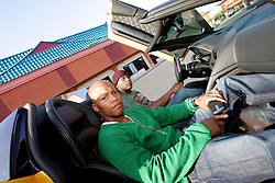 World Exclusive images of Floyd Mayweather Jr and Zab Judah taken outside his gym in Las Vegas in Floyd's yellow Lamborghini as reports surfaced that Floyd Mayweather is coming out of retirement to fight Juan Manuel Marquez on 18 July. Las Vegas, Nevada, 30th April 2009.