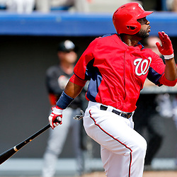 Mar 9, 2013; Melbourne, FL, USA; Washington Nationals center fielder Denard Span (2) flies out against the Miami Marlins during the bottom of the second inning of a spring training game at Space Coast Stadium. Mandatory Credit: Derick E. Hingle-USA TODAY Sports