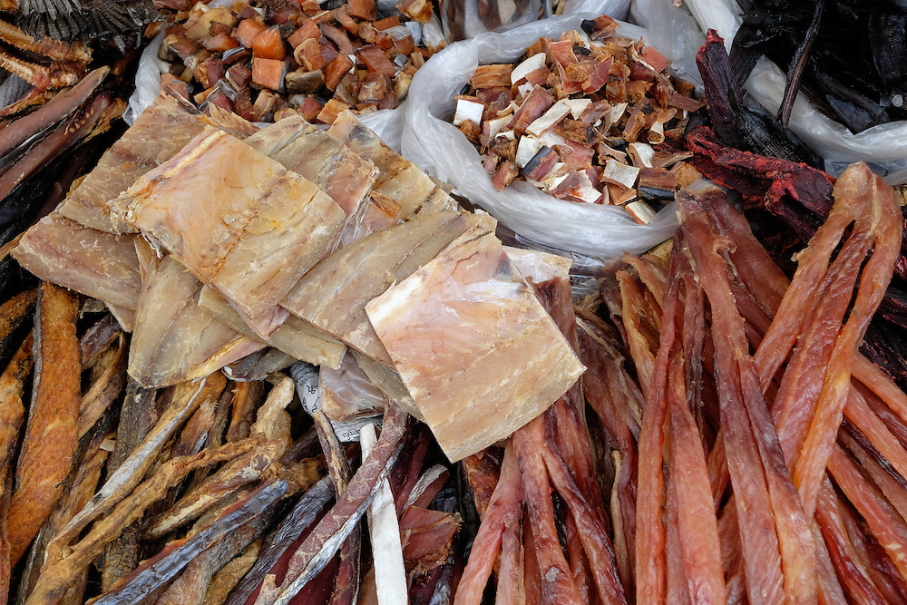 YANGON, MYANMAR - CIRCA DECEMBER 2013: Variety of dried fish in the street market of Yangon.