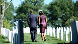 President Barack Obama and First Lady Michelle Obama make a stop at the section 60 at Arlington Cemetery  to commemorates the 11th anniversary of the 9-11 attacks in Arlington, VA, USA on September, 11, 2012. Photo by Olivier Douliery/ABACAPRESS.COM  | 334341_004