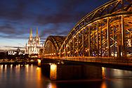view from the district Deutz to the cathedral and the Hohenzollern bridge, Cologne, Germany.<br /> <br /> Blick von Deutz zum Dom und zur Hohenzollernbruecke, Koeln, Deutschland.