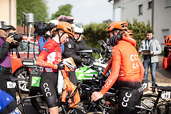 Riejanne Markus (NED) of CCC-Liv Team joins the celebration after Stage 1 of 2019 Festival Elsy Jacobs, a 107.1 km road race starting and finishing in Steinfort, Luxembourg on May 11, 2019. Photo by Balint Hamvas/velofocus.com