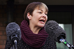 © Licensed to London News Pictures. 24/02/2016. Willesden, UK. CAROLINE LUCAS MP speaking outside Willesden Magistrates Court in London where 13  members of activist group Plane Stupid appeared charged with trespassing on the north runway at Heathrow Airport whilst protesting against a third runway.   Photo credit: Denis McWilliams/LNP