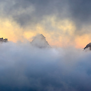A fall storm clears over the peaks of the Paradise Valley in Mount Rainier National Park, Washington.