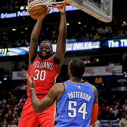 Dec 12, 2018; New Orleans, LA, USA; New Orleans Pelicans forward Julius Randle (30) dunks over Oklahoma City Thunder forward Patrick Patterson (54) during the second half at the Smoothie King Center. Mandatory Credit: Derick E. Hingle-USA TODAY Sports