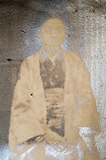 extreme deteriorating portrait with surface reflection Japan ca 1950s