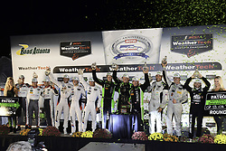 October 7, 2017 - Petit Le Mans, USA - 2 TEQUILA PATRON ESM (USA) NISSAN ONROAK DPI SCOTT SHARP (USA) RYAN DALZIEL (GBR) BRENDON HARTLEY (NZL) WINNER PROTOTYPE #25 BMW TEAM RLL (USA) BMW M6 GTLM BILL AUBERLEN (USA) ALEXANDER SIMS (GBR) NICKY CATSBURG (NLD) WINNER GTLM #29 MONTAPLAST BY LAND MOTORSPORT (DEU) AUDI R8 LMS ULTRA GTD CONNOR DE PHILLIPPI (USA) CHRISTOPHER MIES (DEU) WINNER GTD #26 BAR1 MOTORSPORTS (USA) ORECA FLM09 GARRETT GRIST (CAN) TOMY DRISSI (USA) WINNER PC (Credit Image: © Panoramic via ZUMA Press)