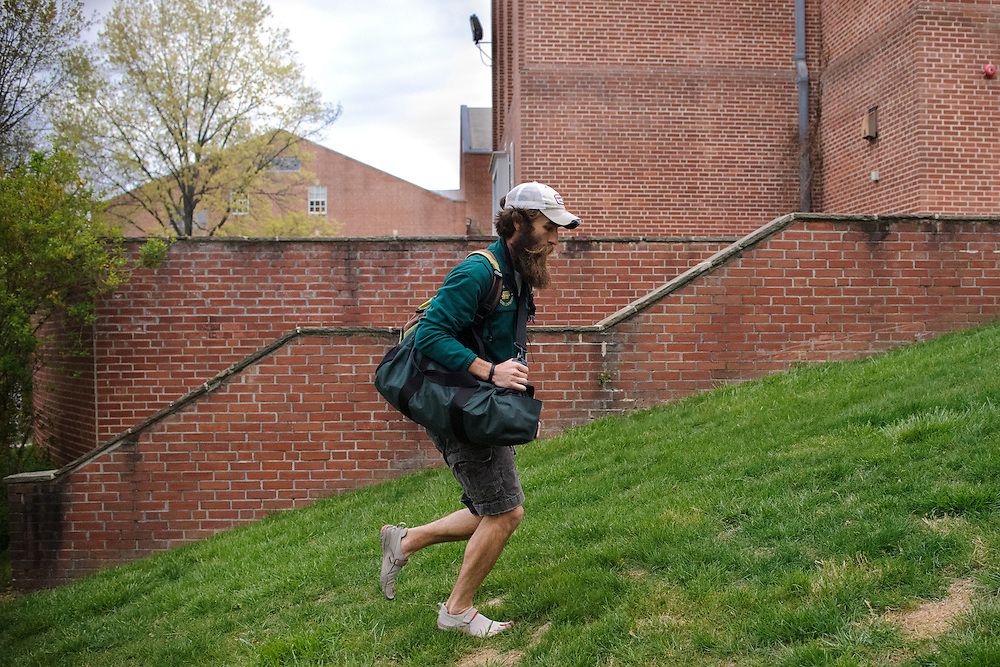 photo by Matt Roth.Wednesday, April 11, 2012..Ron Shriver's morning is particularly hectic Wednesday, April 11, 2012. After dressing his children and eating breakfast, It will take him an hour to drive around northern Carroll County, Maryland to drop Rory and Miles off to two separate schools before he literally sprints up a hill to take his exercise science exam at McDaniel College.. .Ron Shriver is a retired marine staff sergeant. He is also the first in his family to attend college, thanks to the New G.I. Bill. His wife, a fellow retired Marine, is finishing up graduate school in Alaska. After Ron gets his undergraduate degree from McDaniel College in May, he plans to drive to Alaska with is two children Rory, 6, and Miles, 5. For the move Ron got rid of most of his family's belongings, and after his lease was up, he and his children moved back into his parent's farmhouse..