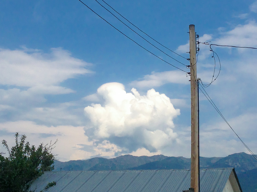 Perfect puffy cloud above a barn with electric pole and lines