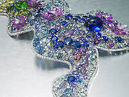 precious gems including diamonds, amethyst, sapphire, opal, citrines encrust a platinum necklace designed by Anna Hu