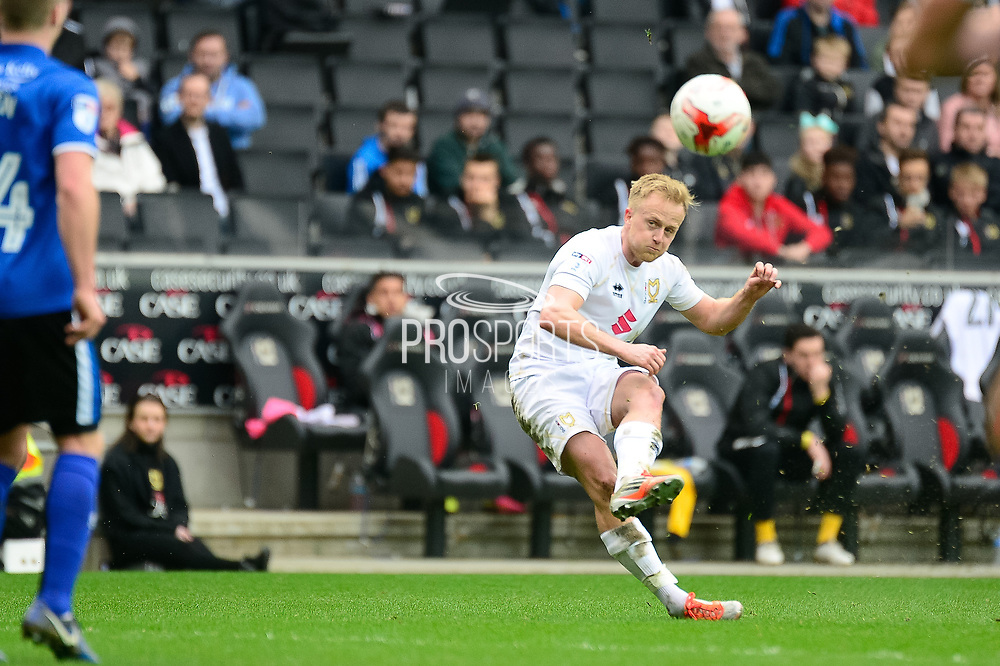 Milton Keynes Dons midfielder Ben Reeves (10) fires in a free kick during the EFL Sky Bet League 1 match between Milton Keynes Dons and Rochdale at stadium:mk, Milton Keynes, England on 11 March 2017. Photo by Dennis Goodwin.