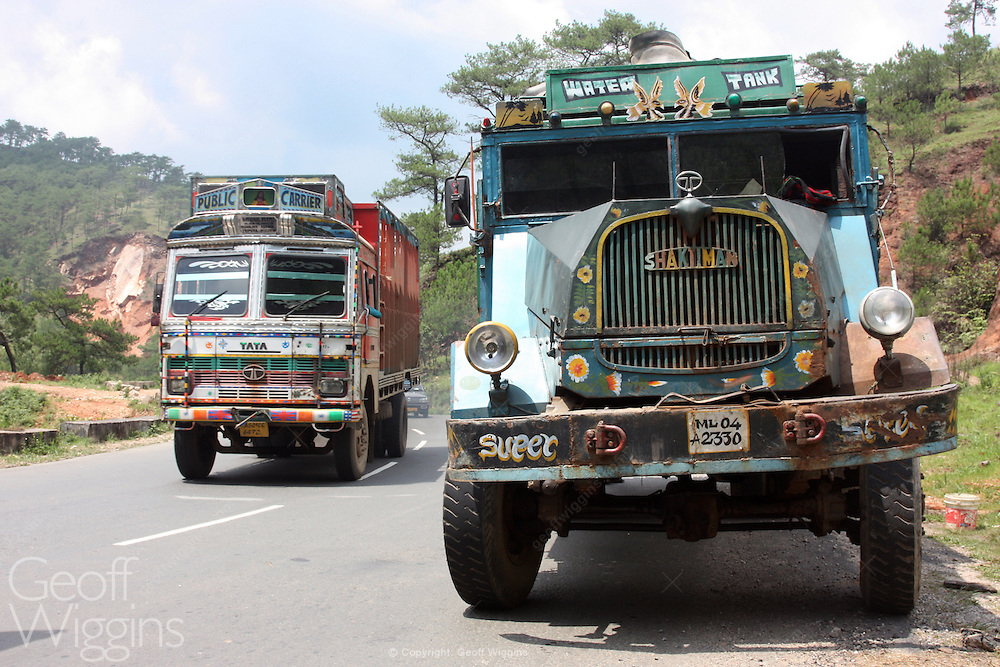 Vintage ex Indian army Shaktiman truck (based on the German MAN 415) on the highway in Nagaland northern east India