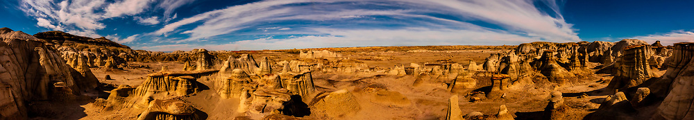 Panoramic view of Rock formations, Bisti Badlands, Bisti/De-Na-Zin Wilderness, New Mexico USA.