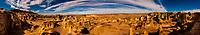 Panoramic view of Rock formations, Bisti Badlands, Bisti/De-Na-Zin Wilderness, New Mexico USA.