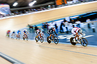 London, England, 12-02-18. Competitors on the men's Omnium scratch race at the UCI World Cup, Track Cycling, Olympic Velodrome,