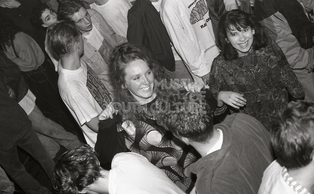 Fans in the crowd at a Happy Mondays gig at the Free Trade Hall in Manchester in 1989.