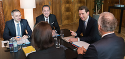 06.03.2019, Bundeskanzleramt, Wien, AUT, Bundesregierung, Sicherheitsgipfel, im Bild Innenminister Herbert Kickl (FPÖ), Vizekanzler Heinz-Christian Strache (FPÖ), Bundeskanzler Sebastian Kurz (ÖVP) Justizminister Josef Moser (ÖVP) und Staatssekretärin im Innenministerium Karoline Edtstadler (ÖVP) // Austrian Minister for the Interior Herbert Kickl, Austrian Vice Chancellor Heinz-Christian Strache, Austrian Federal Chancellor Sebastian Kurz, Austrian Minister for Justice Josef Moser and Austrian State Secretary of the Interior Ministry Karoline Edstadler during an summit regarding to inner security issues at federal chancellors office in Vienna, Austria on 2019/03/06 EXPA Pictures © 2019, PhotoCredit: EXPA/ Michael Gruber