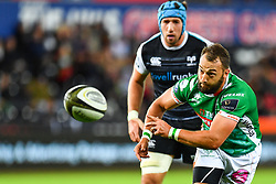 Dewaldt Duvenage of Benetton Treviso in action during todays match<br /> <br /> Photographer Craig Thomas/Replay Images<br /> <br /> Guinness PRO14 Round 4 - Ospreys v Benetton Treviso - Saturday 22nd September 2018 - Liberty Stadium - Swansea<br /> <br /> World Copyright © Replay Images . All rights reserved. info@replayimages.co.uk - http://replayimages.co.uk