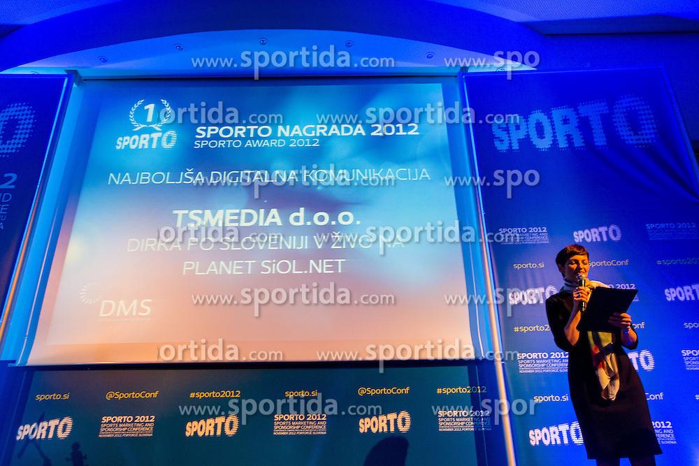 Moderartor Maja Makovec Brencic during Sporto 2012 Gala Dinner and Awards ceremony at sports marketing and sponsorship conference Sporto 2012, on November 26, 2012 in Hotel Slovenija, Congress centre, Portoroz / Portorose, Slovenia. (Photo By Vid Ponikvar / Sportida.com)