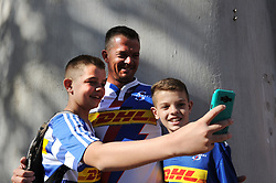 070418 Emirates Airlines Park, Ellis Park, Johannesburg, South Africa. Super Rugby. Lions vs Stormers. Father with his two sons, Divan (15), Ruan and Tiaan Luiters (12) from Kempton Park take a selfie before the game.<br />Picture: Karen Sandison/African News Agency (ANA)