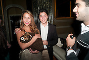 CHARLOTTE MASRI; DOG; LOUIS; ALEXANDER MASRI; Drinks soiree and silent auction of Ô100 ThingsÕ,  hosted by the Mayor of London Boris Johnson, in aid of the Legacy List. 50 St. James. London. 2 November 2011. <br /> <br />  , -DO NOT ARCHIVE-© Copyright Photograph by Dafydd Jones. 248 Clapham Rd. London SW9 0PZ. Tel 0207 820 0771. www.dafjones.com.<br /> CHARLOTTE MASRI; DOG; LOUIS; ALEXANDER MASRI; Drinks soiree and silent auction of '100 Things',  hosted by the Mayor of London Boris Johnson, in aid of the Legacy List. 50 St. James. London. 2 November 2011. <br /> <br />  , -DO NOT ARCHIVE-© Copyright Photograph by Dafydd Jones. 248 Clapham Rd. London SW9 0PZ. Tel 0207 820 0771. www.dafjones.com.