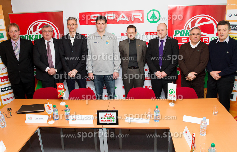 "Clubs' representatives during quarterfinal draw of Slovenian basketball ""Spar"" Cup 2013 on January 24, 2013 in Spar Slovenija, Ljubljana, Slovenia. (Photo by Vid Ponikvar / Sportida.com)"