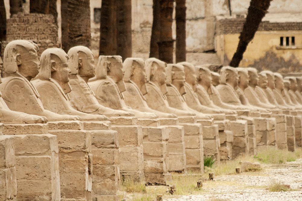 The Avenue of Sphinxes originally ran for 2 kilometres connecting the temples of Karnak and Luxor to each other.