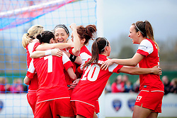 Bristol Academy Women's' Laura Del Rio celebrates with her team mates as she scores with in the first 30 seconds of the game - Photo mandatory by-line: Dougie Allward/JMP - Tel: Mobile: 07966 386802 14/04/2013 - SPORT - FOOTBALL - Stoke Gifford Stadium - Bristol - Bristol Academy Womens V Everton Ladies - FA Women's Cup 6th Round