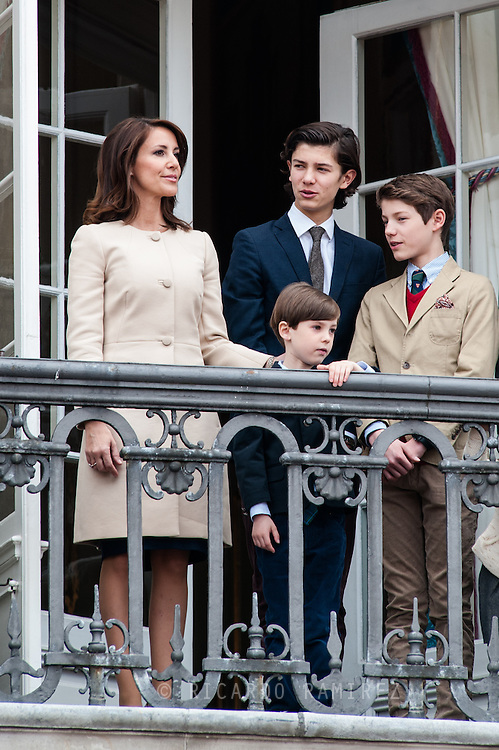 16.04.2016. Copenhagen, Denmark.<br /> Queen Margrethe II celebrates her 76th birthday with her whole family. Princess Marie, Prince Nikolai, Prince Felix,   and  Prince Henrik on the balcony of Christian IX's Palace at Amalienborg Palace.<br /> Photo: © Ricardo Ramirez