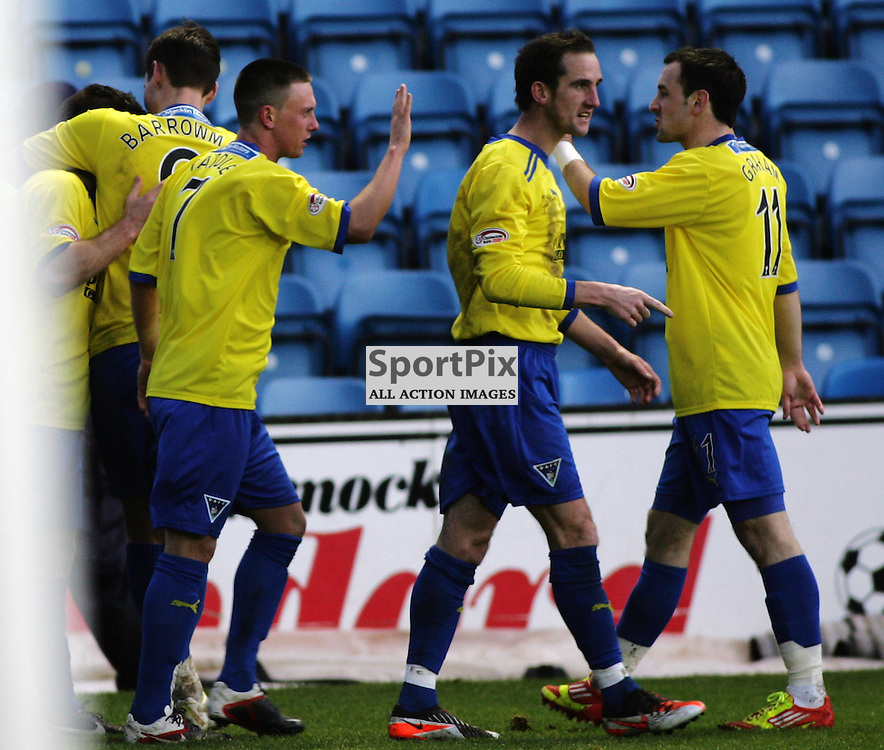 The Clydesdale Bank Scottish Premier League, Season 2011/12.Killmarnock FC v Dunfermline Athletic FC..21-01-12...Players celebrate going 2-0 up in this afternoons  Clydesdale Bank Scottish Premier League game between Kilmarnock FC and Dunfermline Athletic FC..At Rugby Park, Kilmarnock...Picture, Craig Brown..Saturday 21st January 2012.