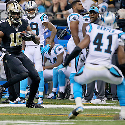 Dec 6, 2015; New Orleans, LA, USA; New Orleans Saints wide receiver Brandon Coleman (16) is pursued by Carolina Panthers strong safety Roman Harper (41) during the first half of a game at Mercedes-Benz Superdome. Mandatory Credit: Derick E. Hingle-USA TODAY Sports