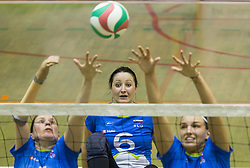 Jana Ferjan of Slovenia, Suzana Ocepek of Slovenia and Larisa Pirih of Slovenia during friendly Sitting Volleyball match between National teams of Slovenia and China, on October 22, 2017 in Sempeter pri Zalcu, Slovenia. (Photo by Vid Ponikvar / Sportida)