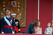 Queen Letizia of Spain, Princess Leonor and Princess Sofia attended the Military Parade during the Spanish National Day on October 12, 2014 in Madrid, Spain
