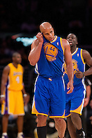 09 November 2012: Forward (44) Richard Jefferson of the Golden State Warriors rubs his ear while playing against the Los Angeles Lakers during the second half of the Lakers 101-77 victory over the Warriors at the STAPLES Center in Los Angeles, CA.