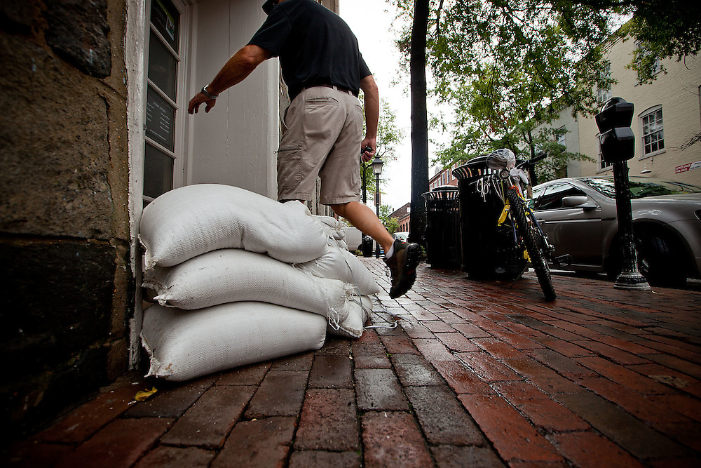 Alexandria, Sept. 30, 2010 - Sandbags are placed in front of the entrance to Starbucks on Union St. in Old Town Alexandria on Thursday, Sept. 30, 2010. (Photo by Jay Westcott/TBD)