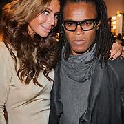NLD/Amsterdam/20120128 - Modeshow Supertrash, Olcay Gulsen en partner Edgar Davids