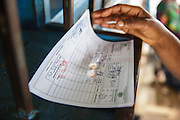 Katy Cherif, 40, gets prescription drugs for her twin sons Lusseini and Lacine, both 4 and suffering from malaria and diarrhea, at the pharmacy counter of the Libreville health center in Man, Cote d'Ivoire on Wednesday July 24, 2013.