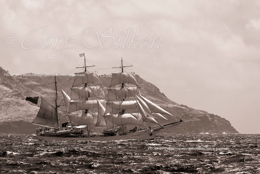 Picton Castle sailing in the Antigua Classic Yacht Regatta, Cannon Race.