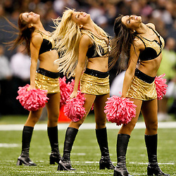 Oct 24, 2010; New Orleans, LA, USA; New Orleans Saints Saintsations cheerleaders perform during the second half at the Louisiana Superdome. The Browns defeated the Saints 30-17.  Mandatory Credit: Derick E. Hingle-US PRESSWIRE