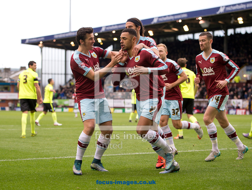 Andre Gray of Burnley (5th left) celebrates after scoring his team's 1st goal from the penalty spot to make it 1-1 during the Sky Bet Championship match at Turf Moor, Burnley<br /> Picture by Russell Hart/Focus Images Ltd 07791 688 420<br /> 22/11/2015